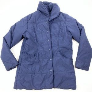 L.L Bean Blue Quilted Button Mock Coat Jacket MED